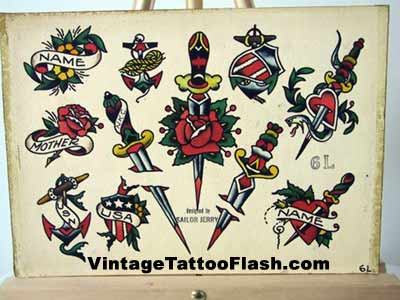 Sailor Jerry Tattoo Flash Sheet